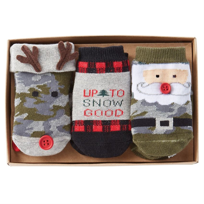 Mud Pie Camo Christmas Sock Set | Le Petite Putti