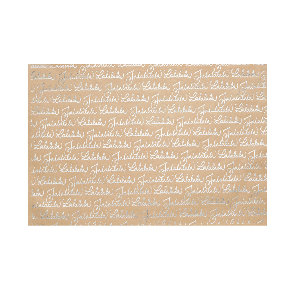 "Silver ""Fa la la"" Kraft Paper Placemats, HI-Harman, Putti Fine Furnishings"