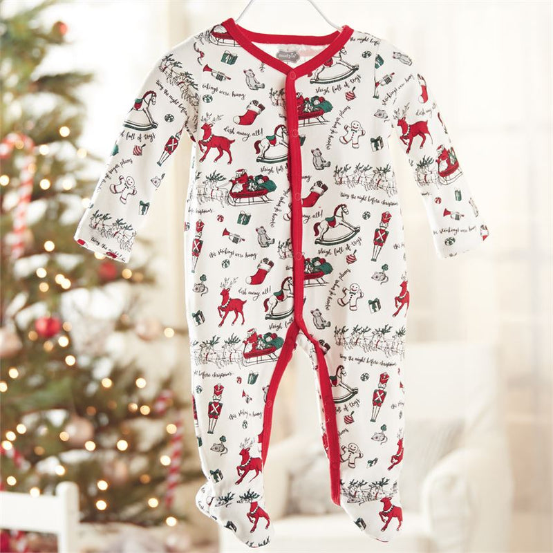 Red Holiday Print Footed Sleeper