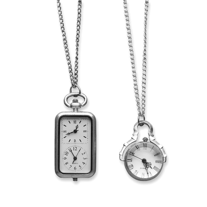 """Antique Clock"" Pendant Necklace - Silver, TC-Two's Company, Putti Fine Furnishings"