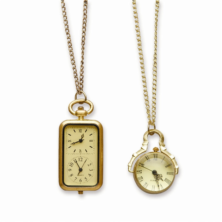 """Antique Clock"" Pendant Necklace - Brass, TC-Two's Company, Putti Fine Furnishings"