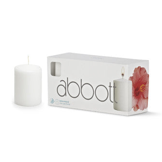 Pillar Candle White - Small - Box of 3 Pillar Candles Candles - AC-Abbot Collection - Putti Fine Furnishings Toronto Canada - 2