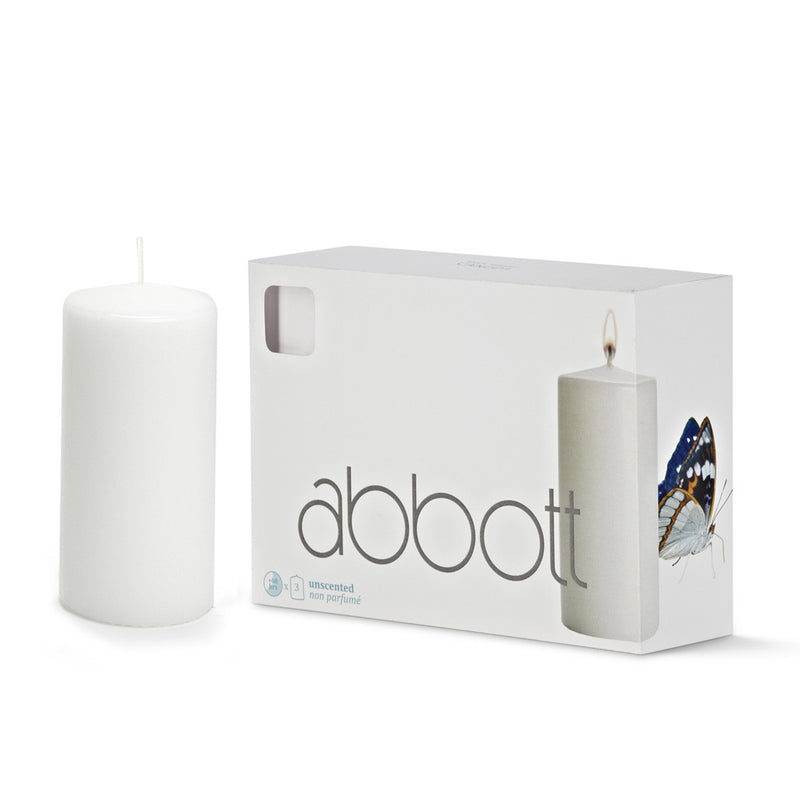 Pillar Candle White - Medium -  Candles - AC-Abbot Collection - Putti Fine Furnishings Toronto Canada - 1