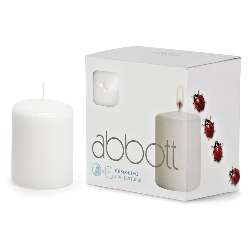 Pillar Candle White - Small Slim - Individual Tealight Candles - AC-Abbot Collection - Putti Fine Furnishings Toronto Canada - 1