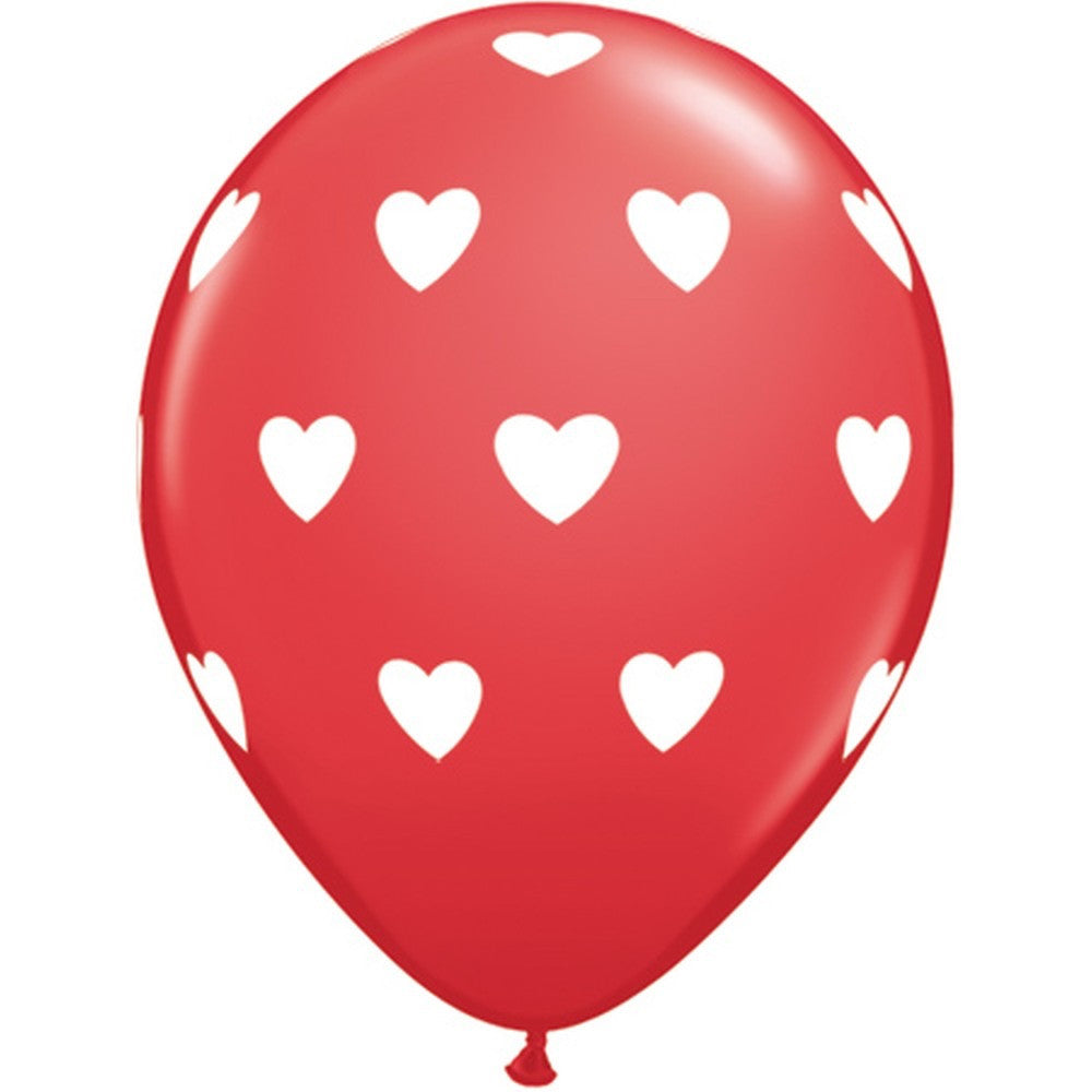 Red with White Hearts Balloon