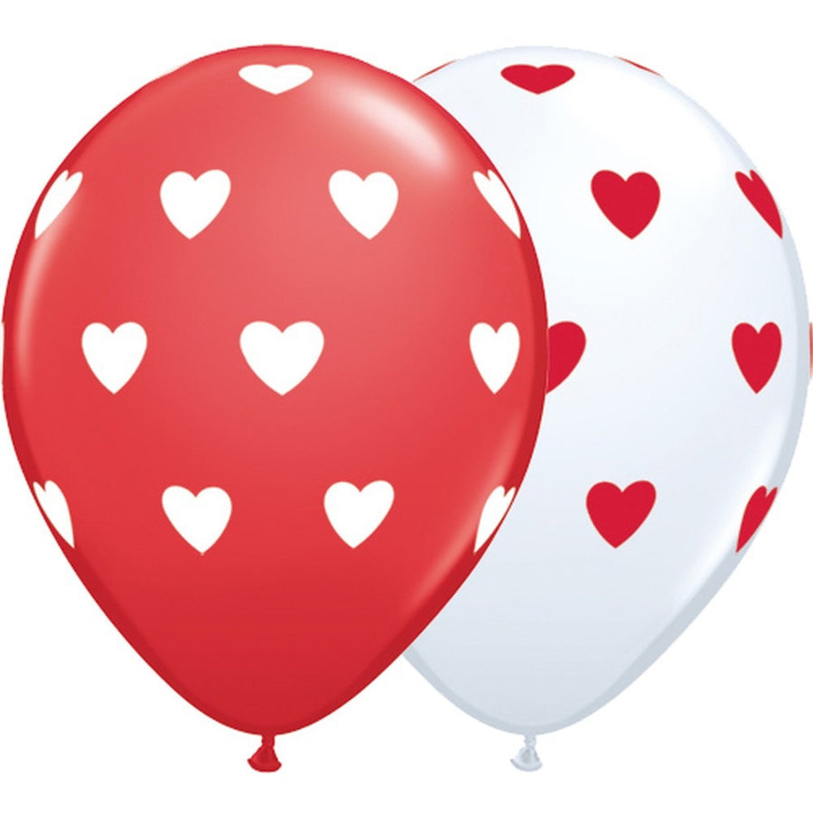 White with Red Hearts Balloon