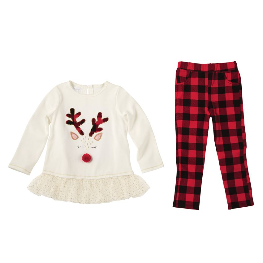 Mud Pie Alpine Reindeer Buffalo Check Legging Set