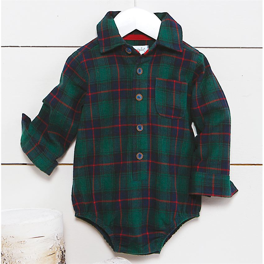 Mud Pie Flannel Blackwatch Plaid Crawler