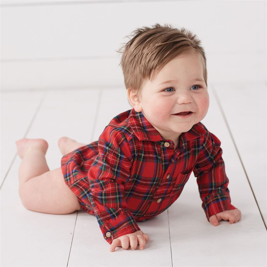 Mud Pie Flannel Red Tartan Plaid Crawler