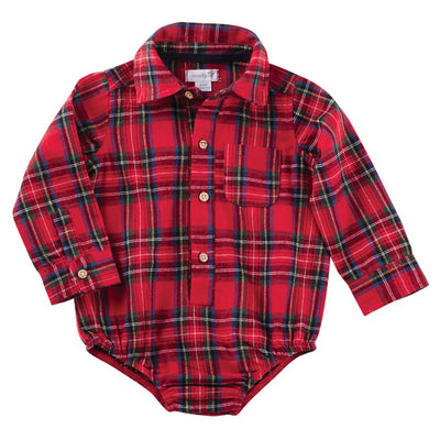 Mud Pie Flannel Red Tartan Plaid Crawler | Putti Christmas