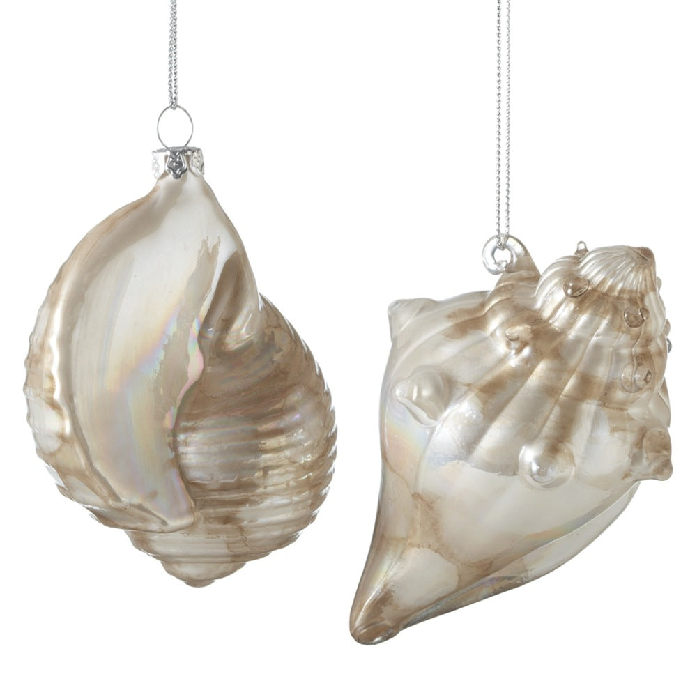 Ivory and Gold Glass Shell Ornaments