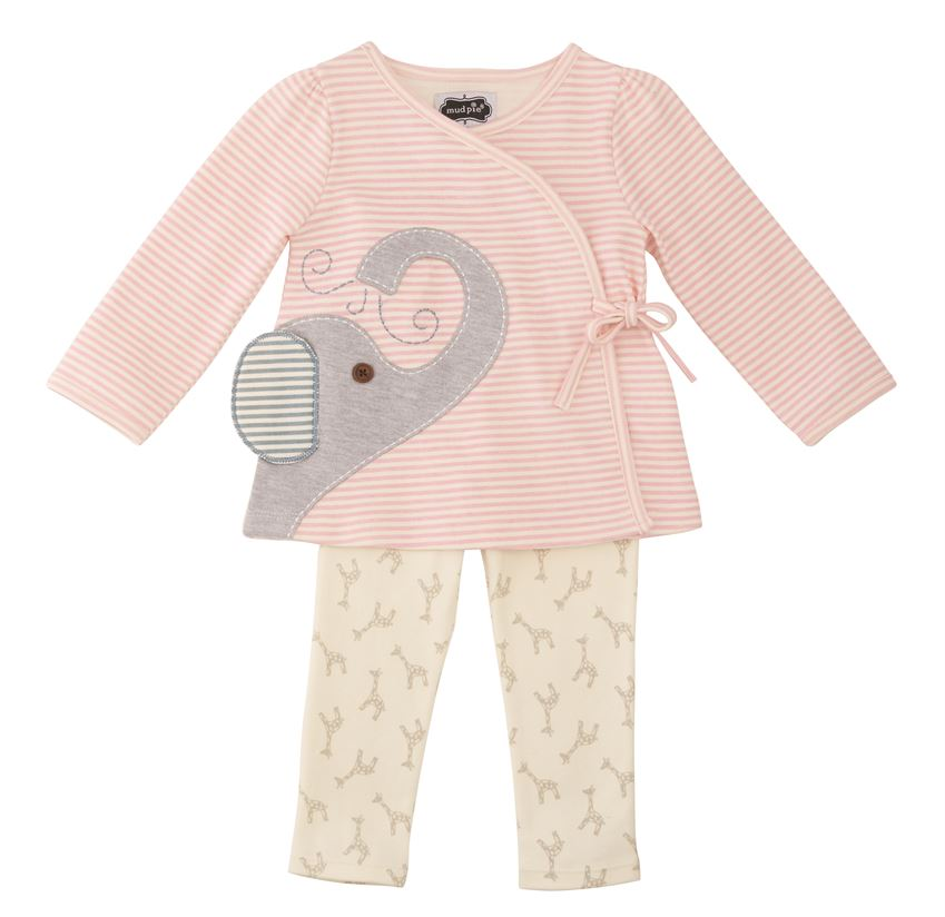 Mud Pie Elephant Kimono Two Piece Pant Set