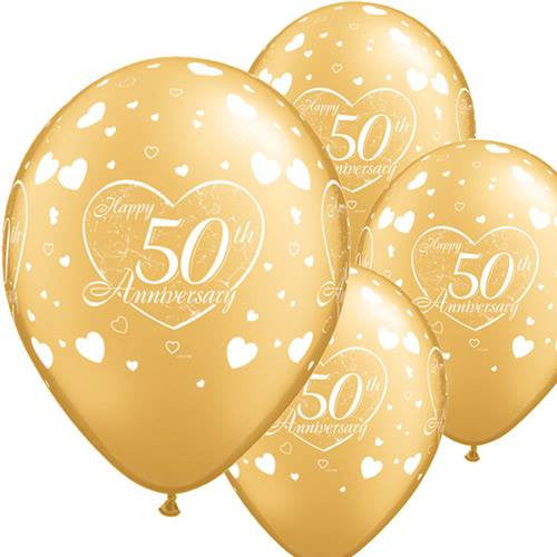 """50th Anniversary"" Gold Balloons"