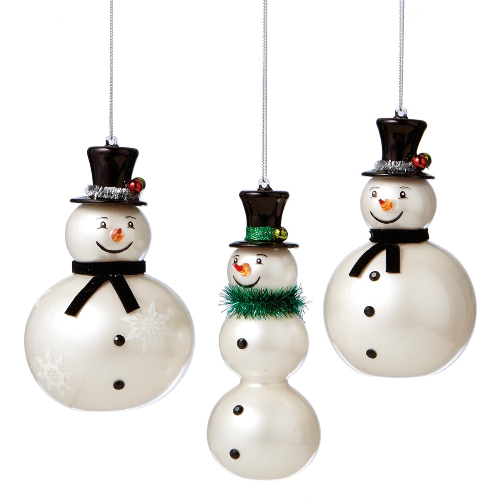 Glass Snowman Ornament, MW-Midwest / CBK, Putti Fine Furnishings