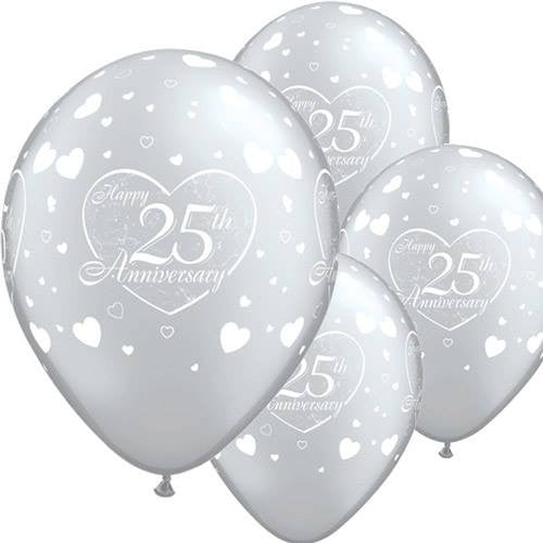 """25th Anniversary"" Silver Balloons"