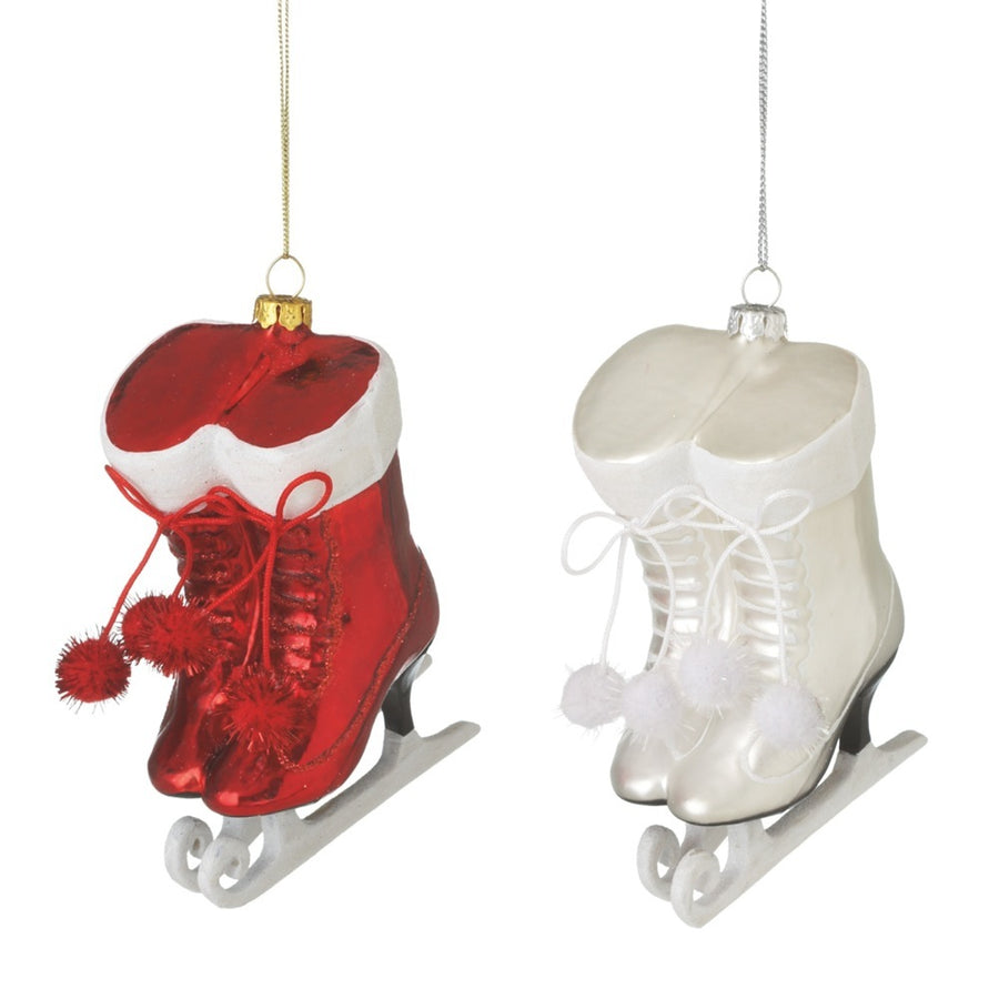 White Glittered Glass Skate Ornament