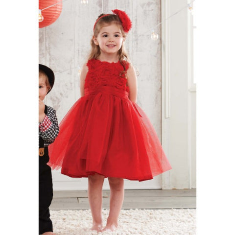 Mud Pie Red Rosette Dress with Ruffles-Children's Clothing-MP-Mud Pie-Size 2T-Putti Fine Furnishings