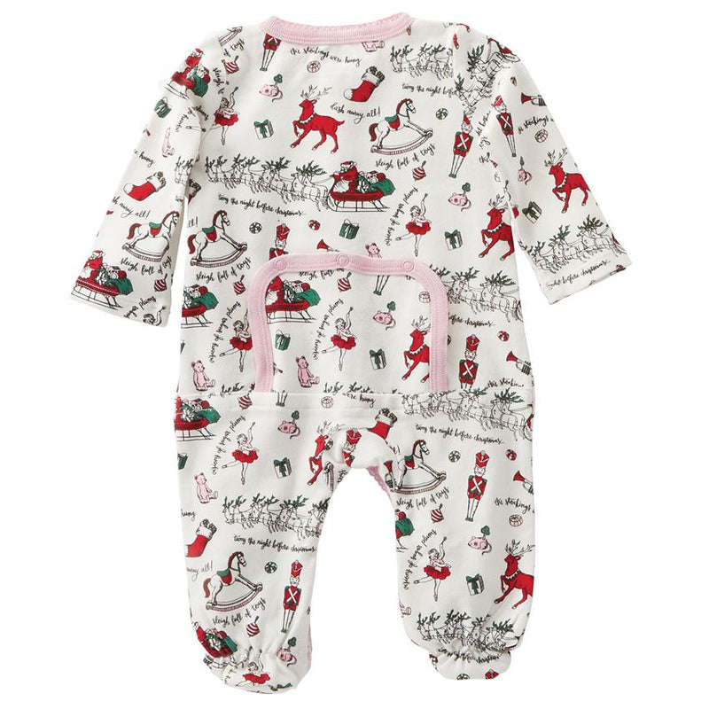 Pink Holiday Print Footed Sleeper