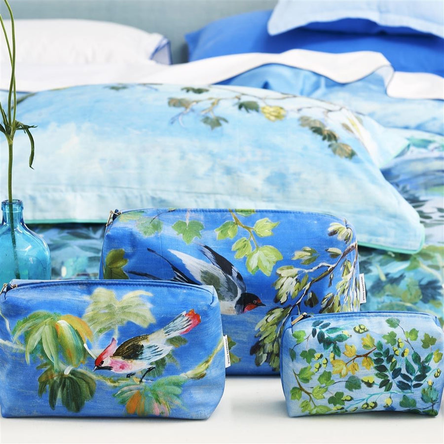 Designers Guild Giardino Segreto Cornflower Toiletry Bag - Large