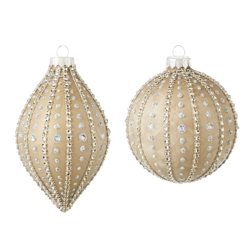 Gold Gem Ball and Drop Ornament