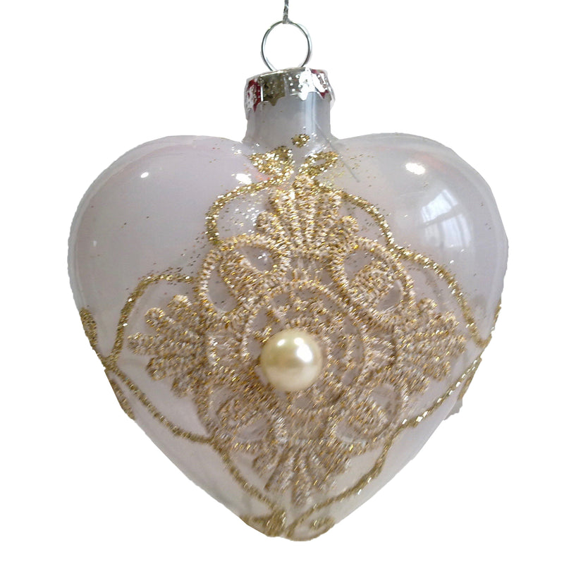 Blush Milk Glass Lace Heart Ornament, FDF-Fil de Fer Enterprises, Putti Fine Furnishings