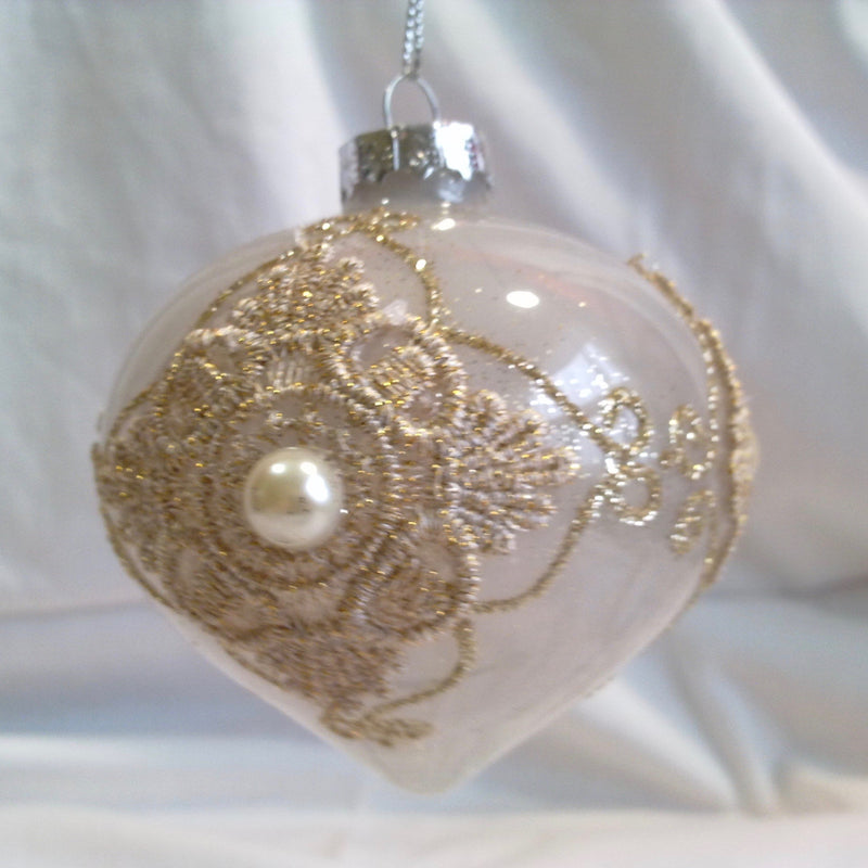 Blush Milk Glass Lace Onion Ornament, FDF-Fil de Fer Enterprises, Putti Fine Furnishings