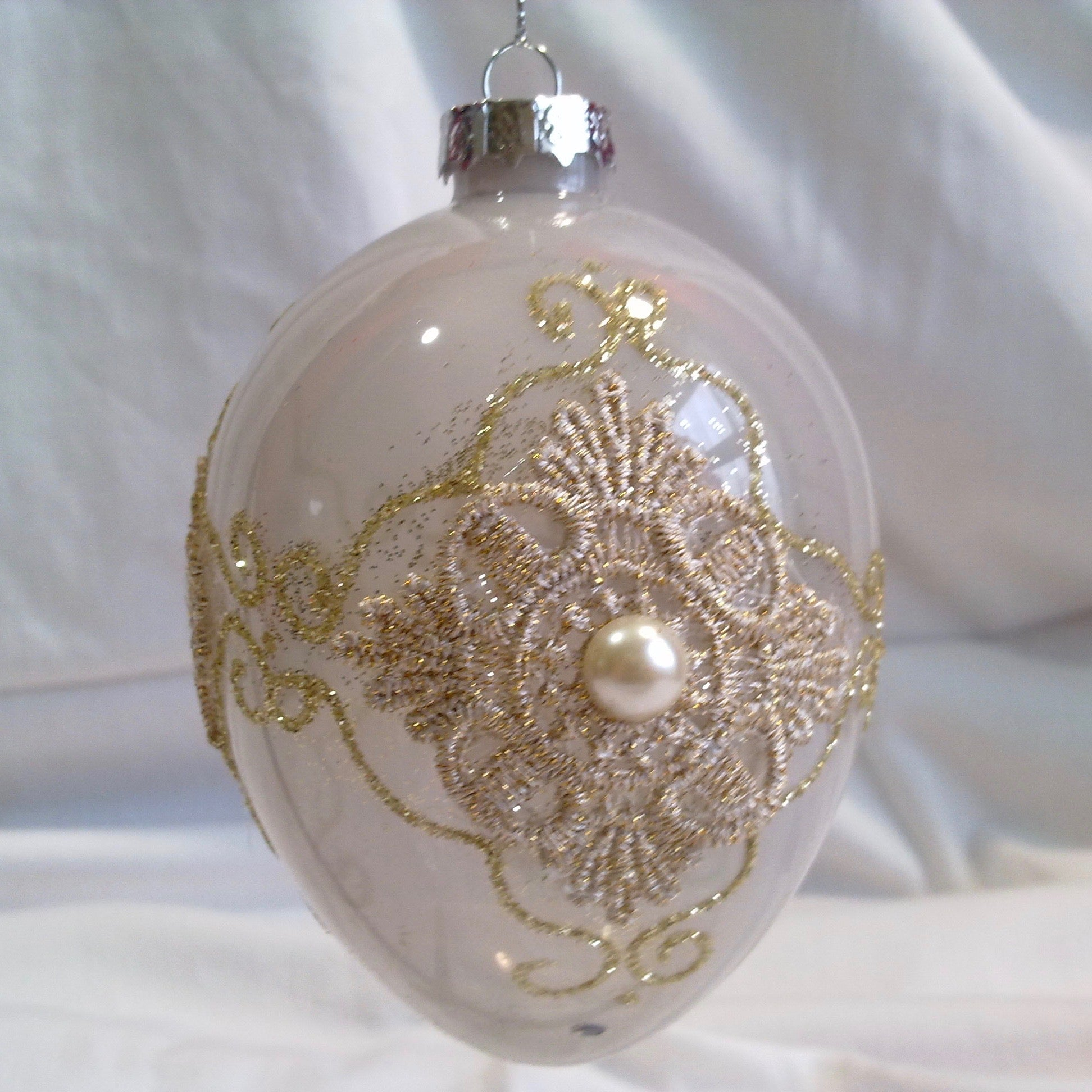 Blush Milk Glass Lace Egg Ornament, FDF-Fil de Fer Enterprises, Putti Fine Furnishings