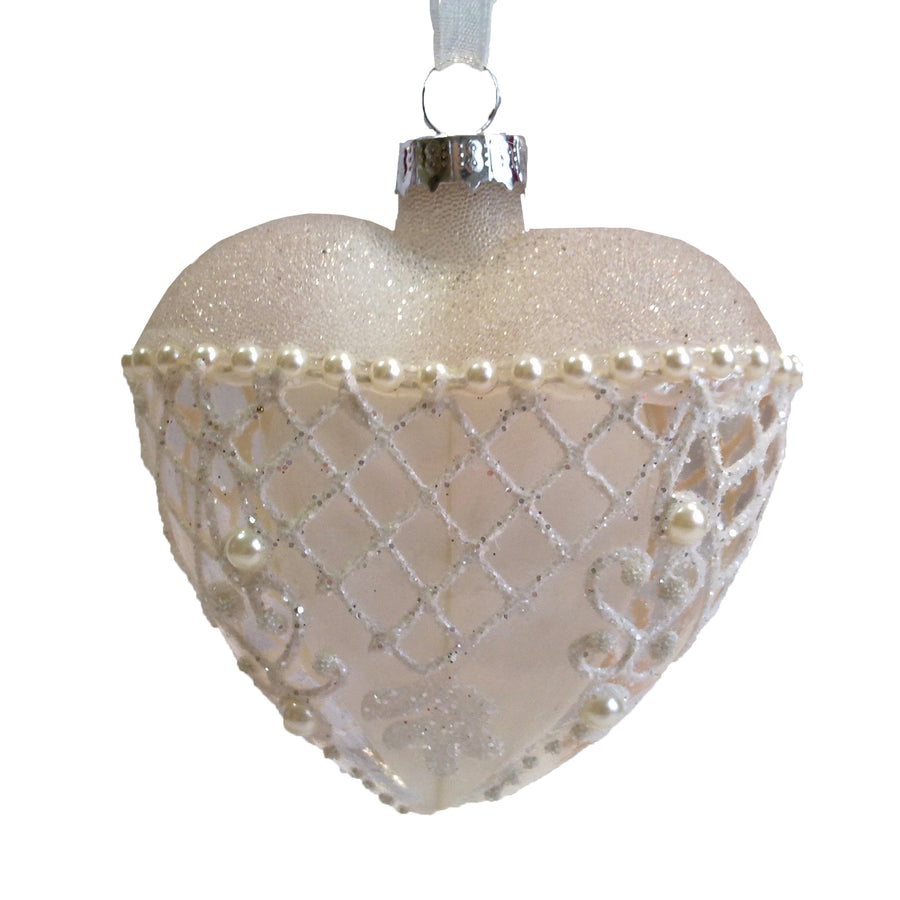 Glass Pearl Heart Ornament
