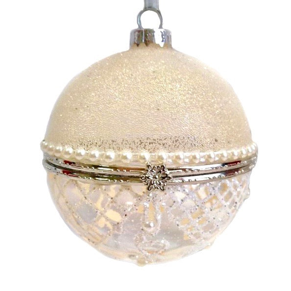 White Glitter and Pearl Small Round Ornament Box - Putti Christmas