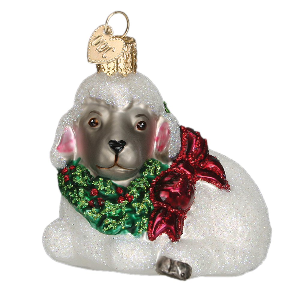 Old World Christmas Little Lamb Glass Ornament -  Christmas Decorations - Old World Christmas - Putti Fine Furnishings Toronto Canada - 1