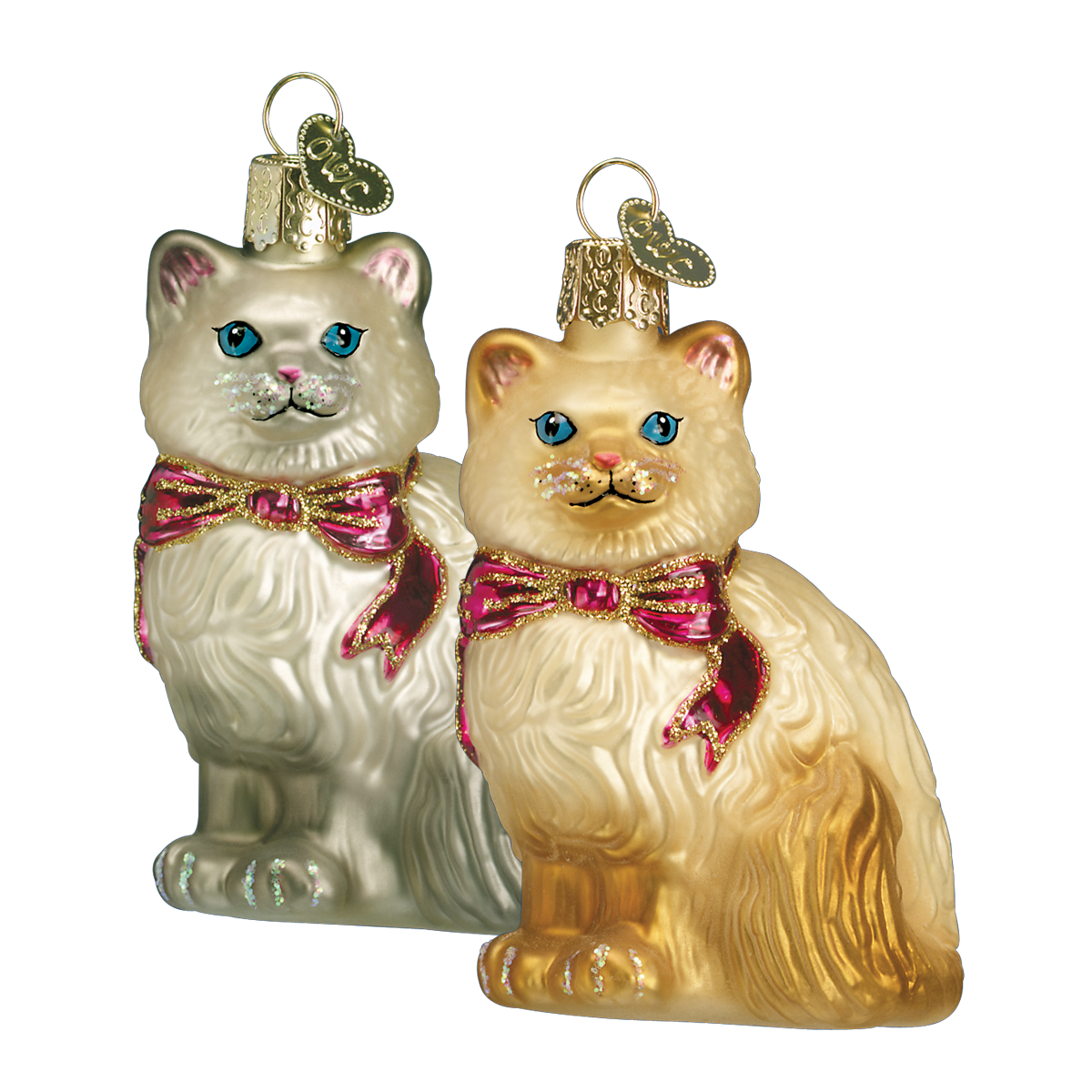 Old Word Christmas Himalayan Kitty Glass Ornament