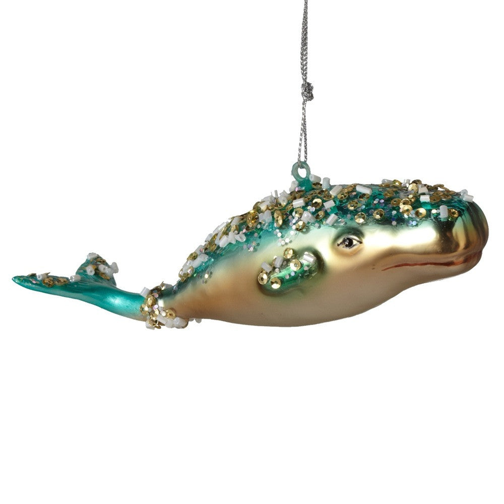 Glass Whale Ornament - Aqua, MW-Midwest / CBK, Putti Fine Furnishings