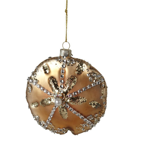 Glass Sand Dollar Ornament-Christmas-MW-Midwest / CBK-Putti Fine Furnishings