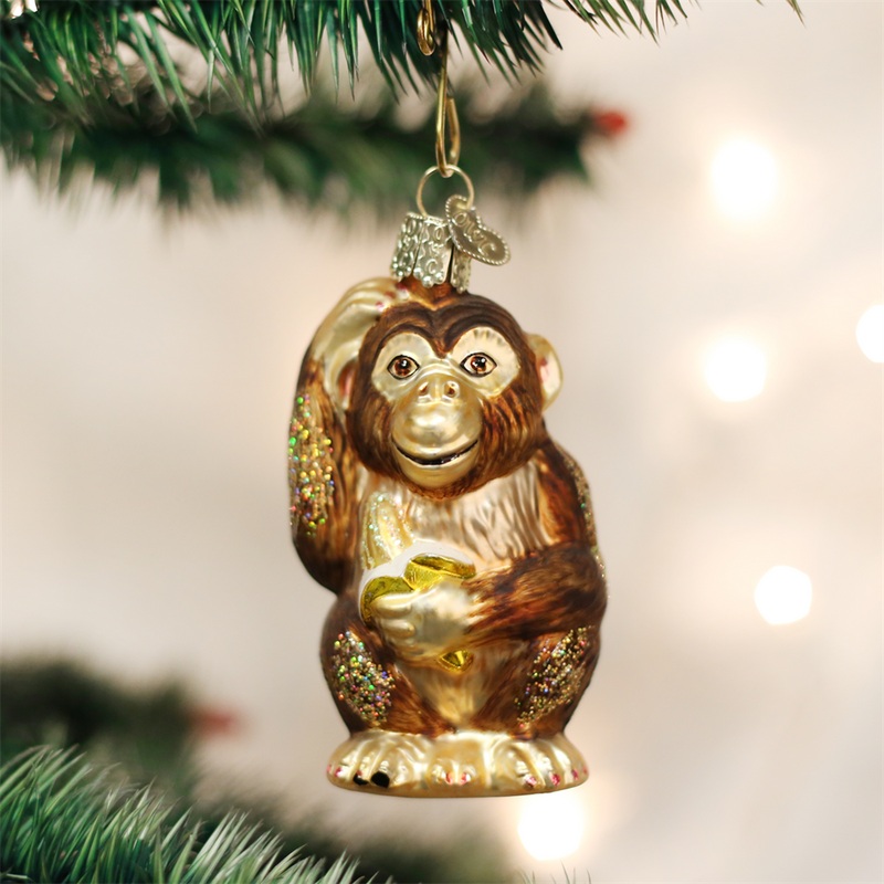 Old Word Christmas Chimpanzee Glass Ornament