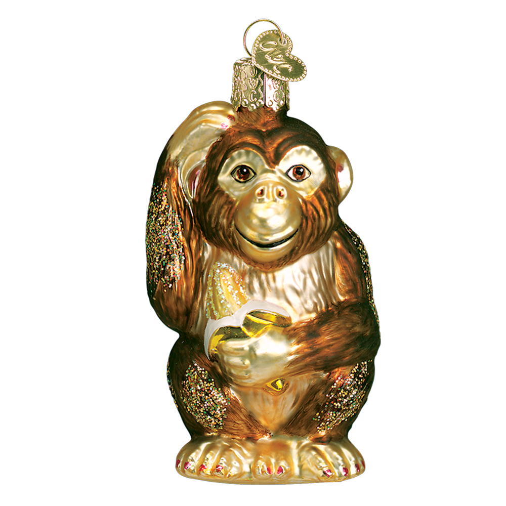 Old Word Christmas Chimpanzee Glass Ornament, OWC-Old World Christmas, Putti Fine Furnishings