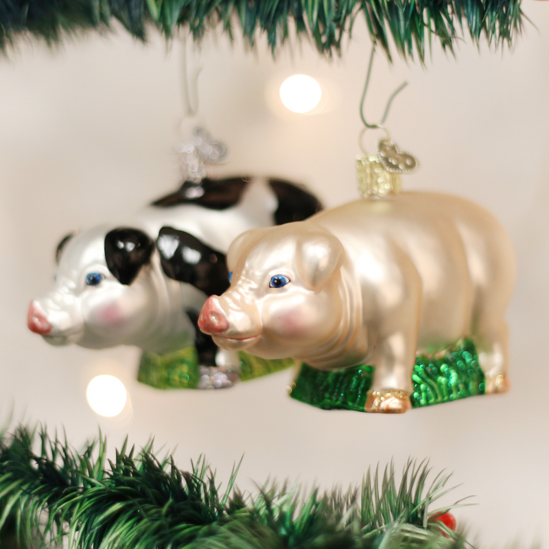 Old Word Christmas Big PIg Glass Ornament