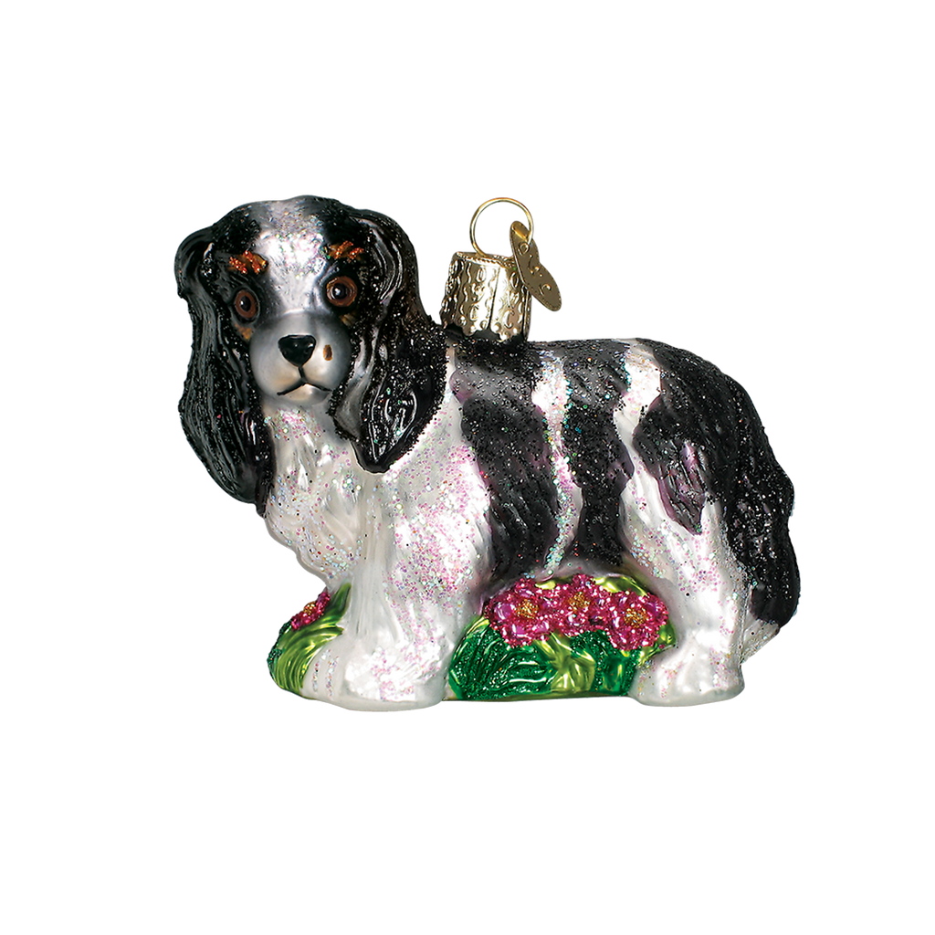 Old World Christmas Cavalier King Charles Christmas Ornament - Black and Tan Breed Christmas - Old World Christmas - Putti Fine Furnishings Toronto Canada - 3