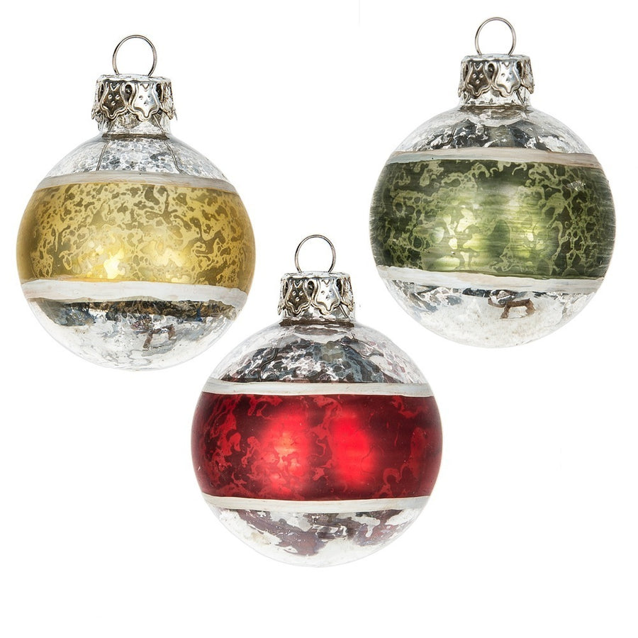Mini Glass Ball Ornaments - 6pc set