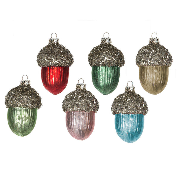 Glass Acorn Ornament - 6pc set -  Christmas - Midwest - Putti Fine Furnishings Toronto Canada
