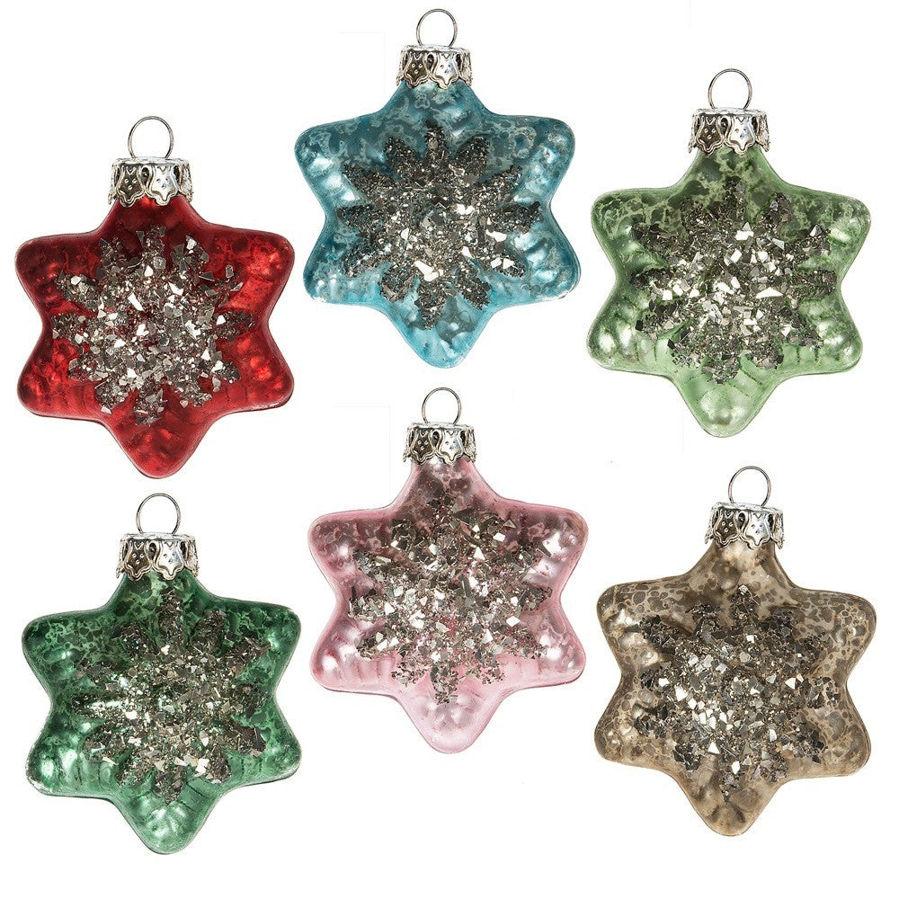 Glass Star Ornament - 6pc set