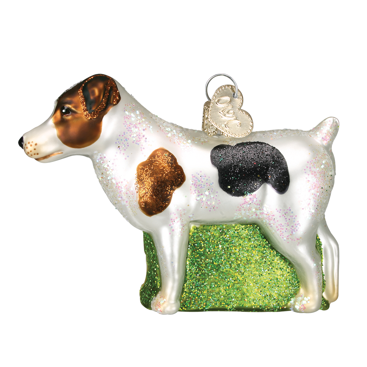 Old World Christmas Jack Russel Glass Dog Ornament - Putti Christmas