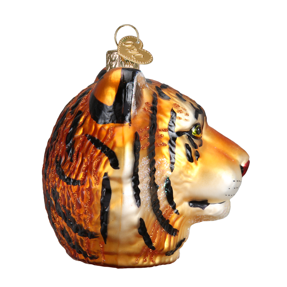 Old Word Christmas Tiger Head Glass Ornament, OWC-Old World Christmas, Putti Fine Furnishings