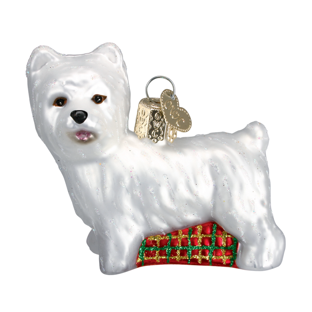 Old World Christmas Westie Glass Dog Ornament | Putti Christmas Canada
