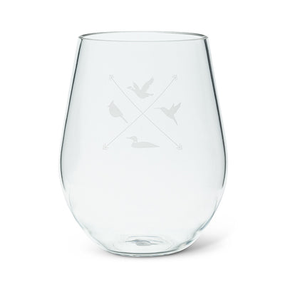 Acrylic Stemless Goblet with Bird Icon | Putti Fine Furnishings