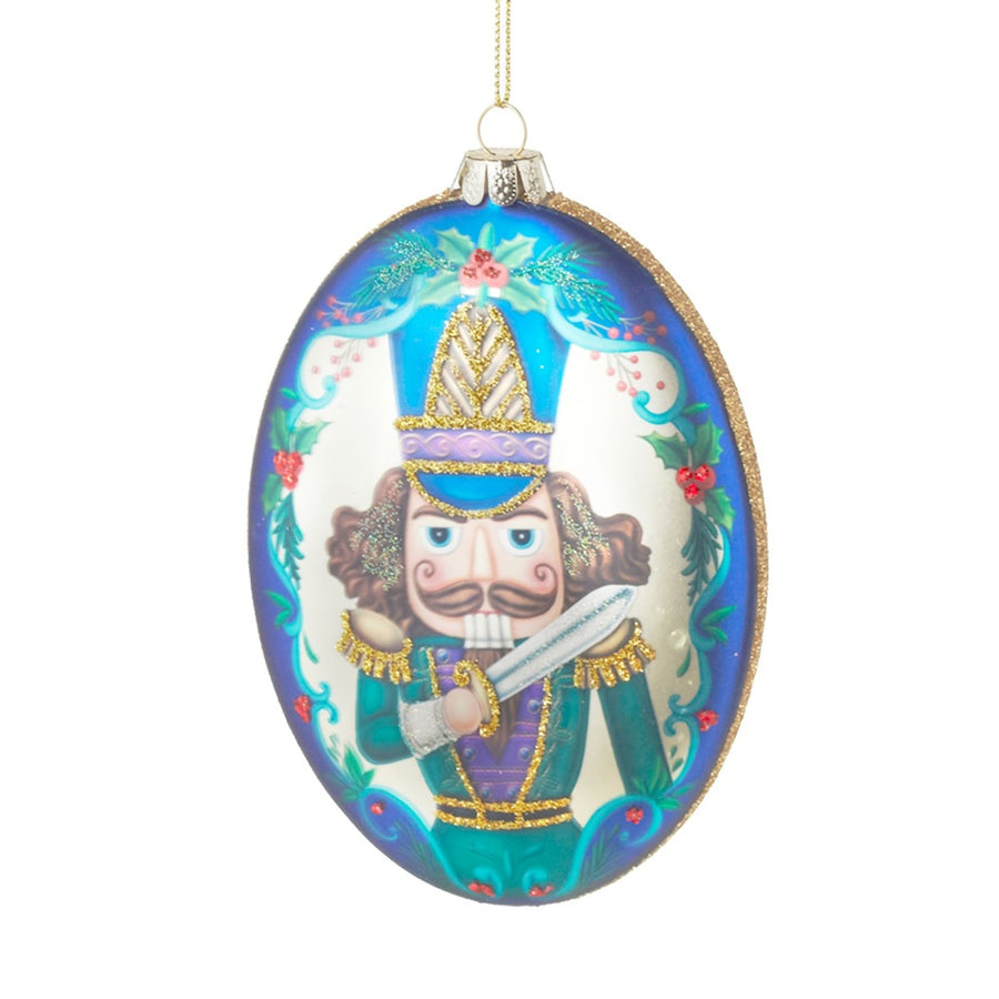Glass Nutcracker Oval Disk Ornament