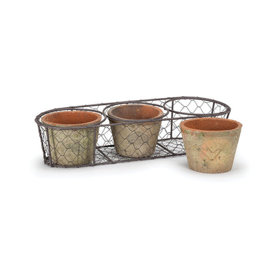 Triple Moss Pot in Basket, AC-Abbott Collection, Putti Fine Furnishings