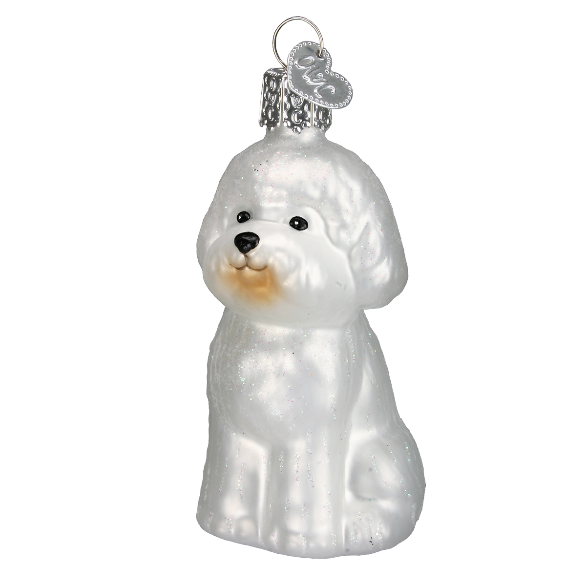 Old World Bichon Frise Glass Ornament - Putti Christmas