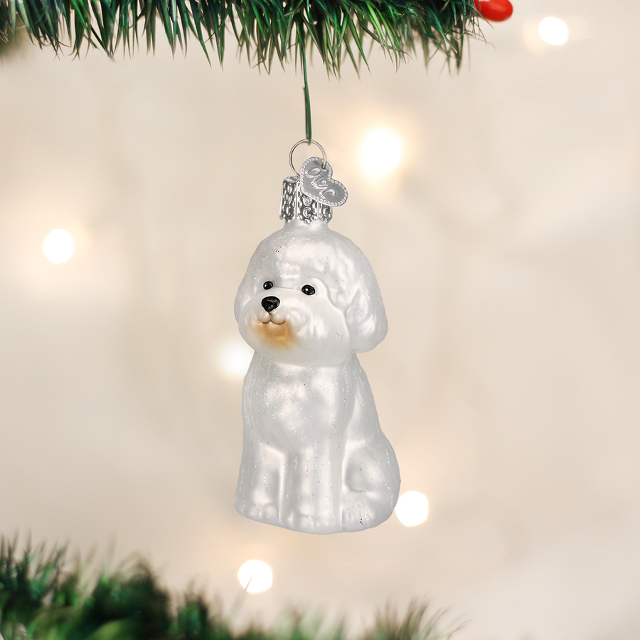 Old World Bichon Frise Glass Ornament