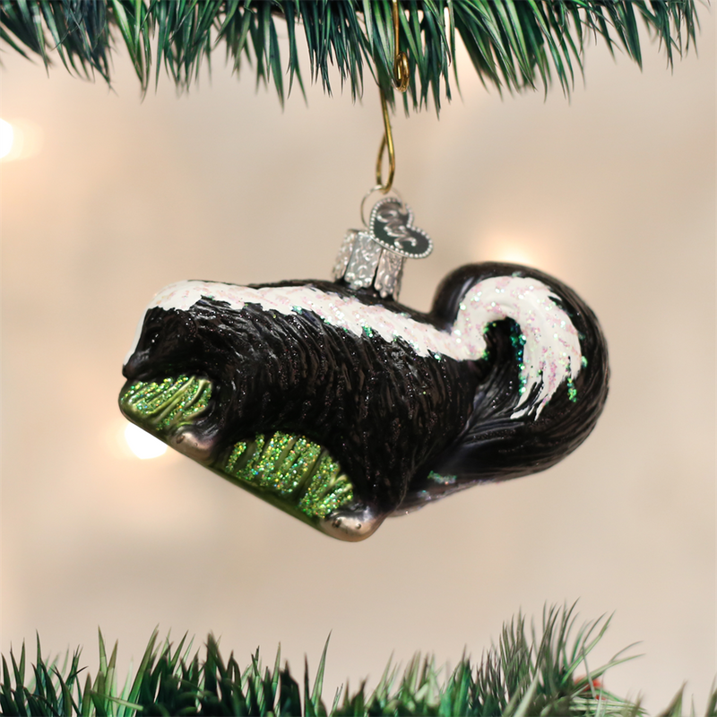 Old Word Christmas Skunk Glass Ornament, OWC-Old World Christmas, Putti Fine Furnishings