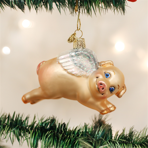 Old World Christmas Flying Pig Glass Christmas Ornament -  Christmas Decorations - Old World Christmas - Putti Fine Furnishings Toronto Canada - 1